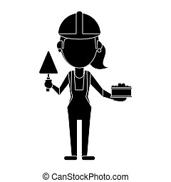 woman construction with brick and spatula pictogram vector...