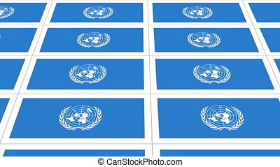 Postcards with United Nations flag looped