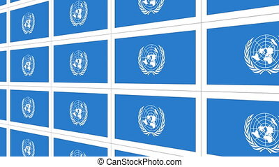 Postcards with United Nations flag looped - Sheet of...