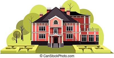 ancient manor vector - vector illustration of a two-storey...