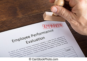 An Approved Stamp On Performance Evaluation Form - High...
