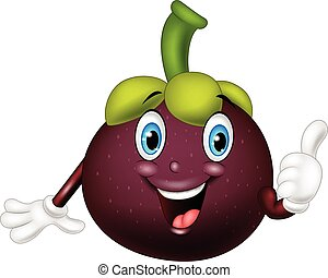 Cartoon mangosteen giving thumbs up - Vector illustration of...
