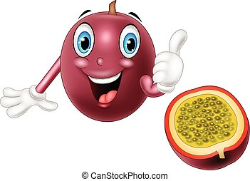 Cartoon passion fruit giving thumb up - Vector illustration...