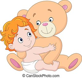 Little baby with teddy bear - Vector illustration of Little...