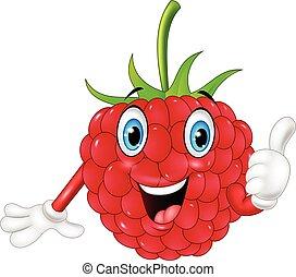 Cartoon raspberry giving thumbs up - Vector illustration of...
