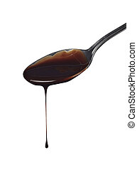 spoon preperation kitchen tool food chocolate syrup leaking