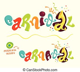 Funny carnival lettering with portuguese version - Cartoon...