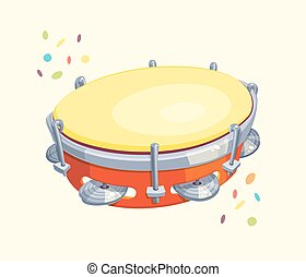 Tambourine with Confetti - Vector cartoon for carnival or...