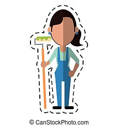 cartoon painter woman with overalls and roller vector...