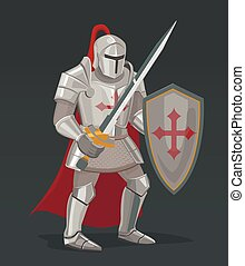Vector knight with sword and shield
