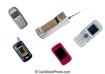 Group of vintage mobile phone