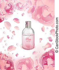 Rose Water Image - Rose water spray bottle and pink flowers...