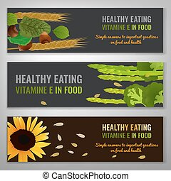 Vitamin E Image - Vitamin E in food. Beautiful vector...