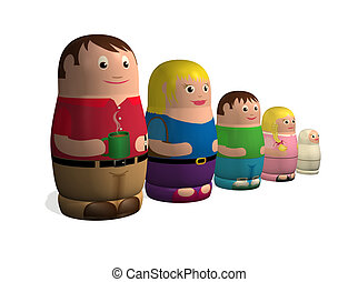 Russian doll family - An illustration of a family in the...