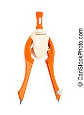 compasses - Modern orange compasses on a white background