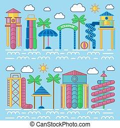 Aquapark Entertainment Equipments Vector Poster - Aquapark...