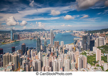 View point of Hongkong city and Kowloon city from the top of...