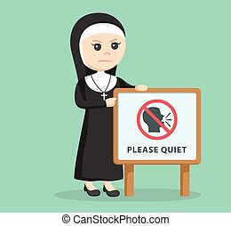 nun beside please quiet sign