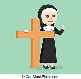 nun holding big wooden cross