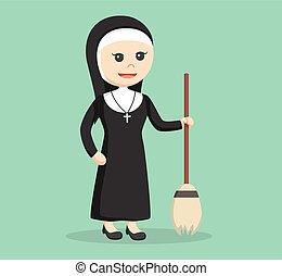 nun holding broom illustration design