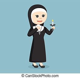 nun holding candle color