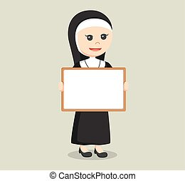 nun holding whiteboard color