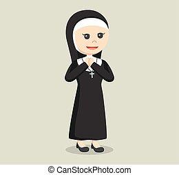 nun praying illustration design