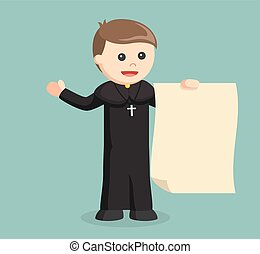priest holding big paper