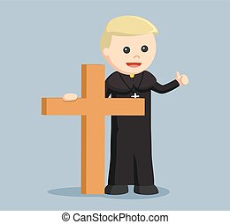 priest holding big wooden cross