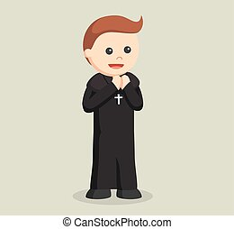 priest praying illustration design