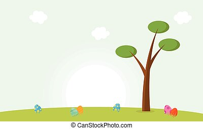 Happy easter with egg and tree landscape