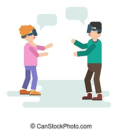 Wife and husband play with VR device - Vector illustration...