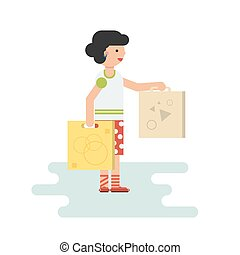 Wife came home from shopping - Vector happy woman with...