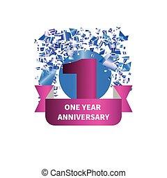One year anniversary. Figure, ribbon, confetti. Vector...