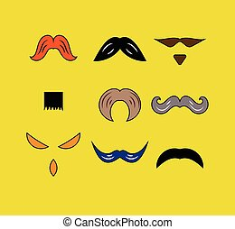 Set hipster moustaches of different shapes. Male design...
