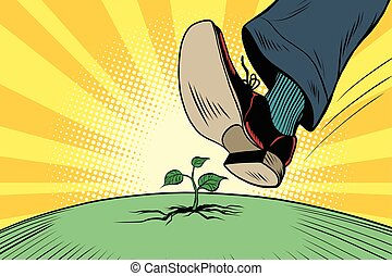 The human foot comes to green sprout, ecology and nature....
