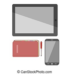 Smartphone, pad and notebook vector icons - Smartphone, pad...