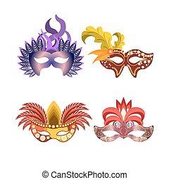 Carnival or celebration masks vector icons - Carnival masks...