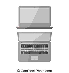 Laptop computer, notebook or netbook vector icons - Laptop...