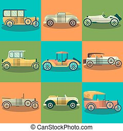Retro cars and collector autos vector flat set - Retro cars...