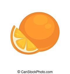 Orange Tropical Fruit Isolated on White. Mandarin - Orange...