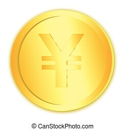 Yen currency sign on gold coin