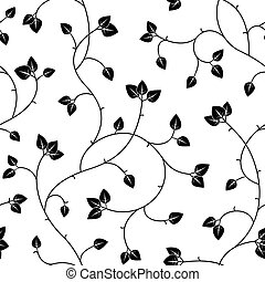 seamless abstract black leaves background isolated