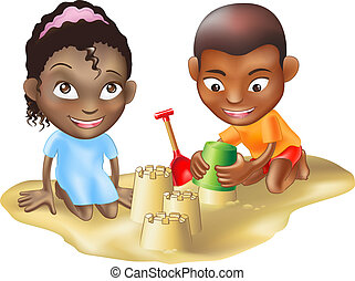 two children playing on the beach - An illustration of two...