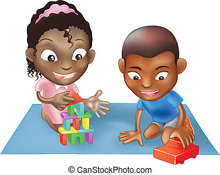 two children playing - An illustration of two black ethnic...