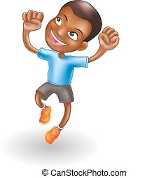 Young boy jumping for joy - An illustration of a young black...