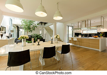 Dining room with white table and black chairs - Bright cozy...