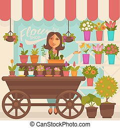 Florist Female Person near Showcase with Flowers - Florist...