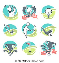 Golf Labels Collection with Equipments and Prizes - Golf...