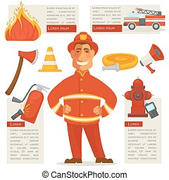 Fireman Isolated and Special Objects Set around - Fireman...